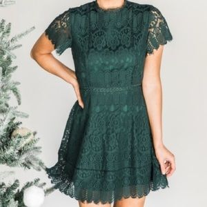 Pink Lily Boutique Emerald Green Lace Dress